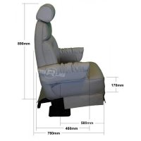 Superior Seat - Riviera with Lap Belt - Side Dimensions